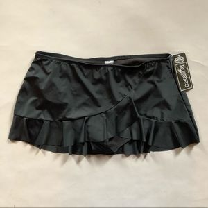 Black ruffle swim bikini skirt bottom 2X 18W/22W
